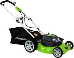 Greenworks 12 Amp 20-Inch 3-In-1Electric Corded Lawn Mower,